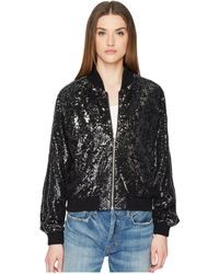 The Kooples - Sequin Fabric Jacket With Contrasting Piping (black) Women's Coat - Lyst