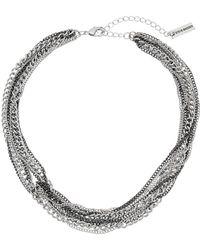 Steve Madden - Knot Design Multi Strand Chain Necklace (silver-tone/black) Necklace - Lyst