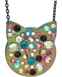 Betsey Johnson - Stone Cat Face Pendant Necklace - Lyst