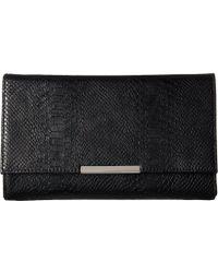 Jessica Mcclintock Nora Metallic Snake Large Envelope Clutch Clutch Handbags - Black
