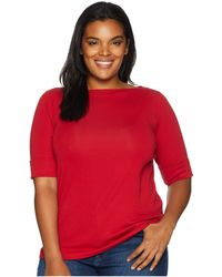 Lauren by Ralph Lauren - Plus Size Cotton Boat Neck Top (admiral Green) Women's Clothing - Lyst