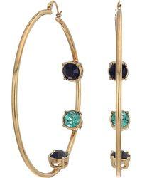 Steve Madden - Rhinestone Inside Stud Design Hoop Earrings (red/pink/yellow Gold-tone) Earring - Lyst