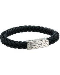 John Hardy - Classic Chain 8.5mm Station Bracelet In Black Leather (silver) Bracelet - Lyst