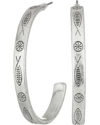 Lucky Brand - Fish Etched Hoop Earrings (silver) Earring - Lyst