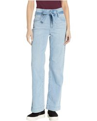 Vince Camuto High-rise Light Indigo Belted Wide Leg Jeans In Oasis Blue - Green