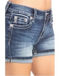 Miss Me Embellished Single Cuff Shorts - Blue
