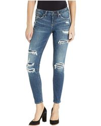 Silver Jeans Co. - Aiko Skinny Jeans With Distressing In Indigo L83005sjl365 (indigo) Women's Jeans - Lyst