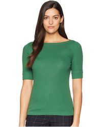 Lauren by Ralph Lauren - Stretch Cotton Boat Neck Tee (basil Green) Women's T Shirt - Lyst