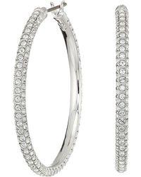 Swarovski - Stone Hoop Pierced Earrings (rhodium Plating/white) Earring - Lyst