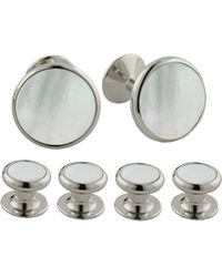 David Donahue Brass Cuff Link & Stud Set - Metallic