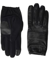 Calvin Klein Quilted Panel Leather Touch Gloves - Black