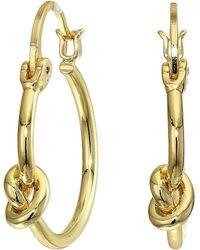 Rebecca Minkoff Knot Skinny Hoops Earrings - Metallic