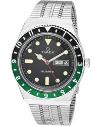 Timex 38 Mm Q Black/green Watches - Metallic
