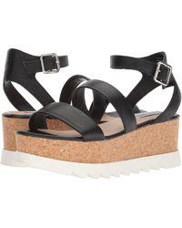 36cdb336015 Steve Madden - Kirsten Cork Platform Wedge Sandal (black Leather) Women s  Shoes - Lyst