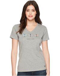 Life Is Good. - Change Three Dragonflies Crusher Vee (heather Gray) Women's T Shirt - Lyst