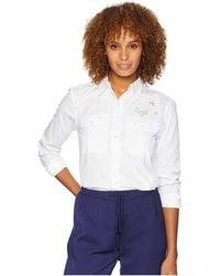 Lauren by Ralph Lauren - Bullion-patch Poplin Shirt (white) Women's Clothing - Lyst