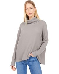 Dylan By True Grit Soft Brushed Waffle Cowl Neck Top - Gray