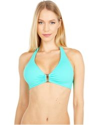 Lauren by Ralph Lauren Beach Club Solids Ring Front Halter Bikini Swimsuit Top - Blue