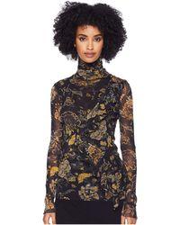 Fuzzi - Long Sleeve T-neck Brocade Top (nero) Women's Clothing - Lyst