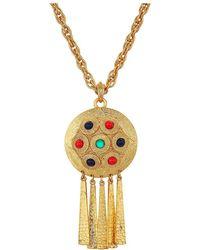 Kenneth Jay Lane - 28 Satin Gold Multicolor Cabachon Pendant Necklace (satin Gold/multi) Necklace - Lyst