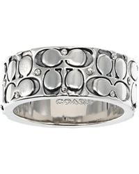 COACH Quilted C Band Ring - Gray