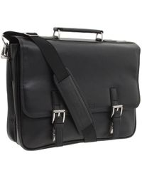 Kenneth Cole Reaction - A Brief History - 5 Double Gusset Flapover Portfolio (black Nappa Lea) Briefcase Bags - Lyst