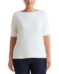 Lauren by Ralph Lauren Plus Size Stretch Cotton Boat Neck Tee T Shirt - White