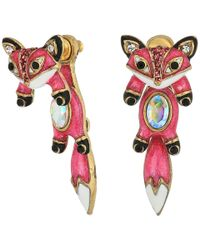 Betsey Johnson | Pink And Gold Fox Front Back Earrings | Lyst