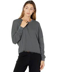 Michael Lauren Travis Signature Soft French Terry Crop Pullover Sweatshirt - Metallic