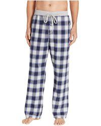 True Grit Shadow Plaid Flannel Pajama Pants With Heather Knit Trim (blue) Men's Pajama