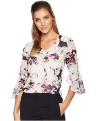 Calvin Klein - Print V-neck Blouse W/ Flare Sleeve (blush/aubergine Multi) Women's Blouse - Lyst