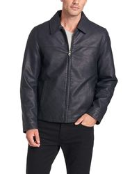 Dockers James Classic Faux Leather Laydown Collar Open Bottom Jacket - Blue
