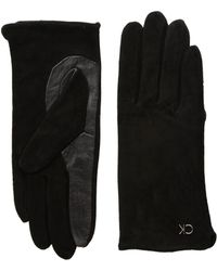 CALVIN KLEIN 205W39NYC - Basic Suede/leather Mix Gloves - Lyst