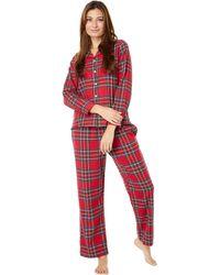 L.L. Bean Petite Scotch Plaid Flannel Pajamas Plaid - Red