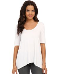 Three Dots - 1/2 Sleeve Relaxed High Low Tee (white) Women's Short Sleeve Pullover - Lyst