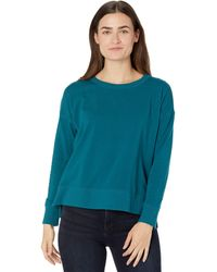 Eileen Fisher Crew Neck Top With High-low Hem In Organic Cotton Stretch Jersey - Blue