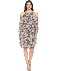 Donna Morgan - Long Sleeve Printed Chiffon With Cold Shoulder And Drop Waist (moss Green/mauve Multi) Women's Dress - Lyst