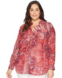 Lauren by Ralph Lauren - Plus Size Silk Cotton Voile Long Sleeve Shirt (polo Black/soft White) Women's Clothing - Lyst