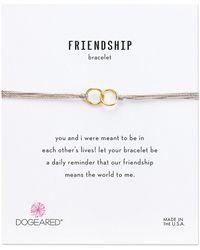 Dogeared - Friendship Double Linked Rings Silk Bracelet (black/sterling Silver) Bracelet - Lyst