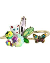 Betsey Johnson - Colorful Stone And Cat Cluster Ring, Set Of 2 (multi) Ring - Lyst