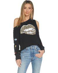 Lauren Moshi Trinidy Leopard Lip Off Shoulder Sweatshirt - Black