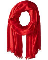 Calvin Klein - Ck Logo 2 In 1 Pashmina Wrap Scarf (rouge) Scarves - Lyst