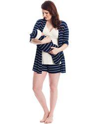 Everly Grey Adaline Maternity/nursing Mommy Me Five-piece Pj Set - Blue
