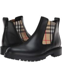 Burberry Vintage Check Detail Leather Chelsea Boots - Black