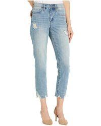 Blank NYC The Madison Crop Denim Jeans With Destructed Hem Detail In Risk Taker - Black