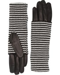 AllSaints Stripe Knit Cuff Leather Gloves - Black