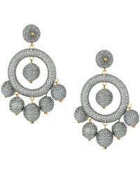 f2616b5c4 Kenneth Jay Lane - Graduated Silver Thread Wrapped Balls Drops W/ Dome Top  Post Earrings