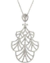 Nina - Fine Line Micro Pave Fan Swarovski Crystals Necklace (rhodium/white) Necklace - Lyst