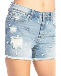 Miss Me Star Mid-rise Relaxed Shorts - Blue