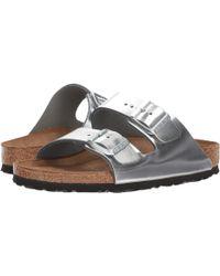 4c09c1ba68ee Birkenstock - Arizona Soft Footbed (metallic Anthracite Leather) Women s  Sandals - Lyst